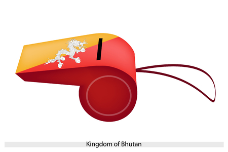 The Dragon Holding Jewels in Its Claws on Orange and Yellow Colors of The Kingdom of Bhutan Flag on A Whistle, The Sport Concept and Political Symbol.  Vector