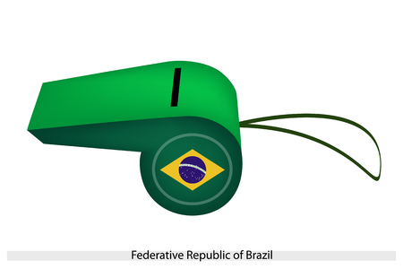 federative republic of brazil: A Blue Circle with White Stars within A Yellow Rhombus, On A Green Field of The Federative Republic of Brazil Flag on A Whistle, The Sport Concept and Political Symbol.