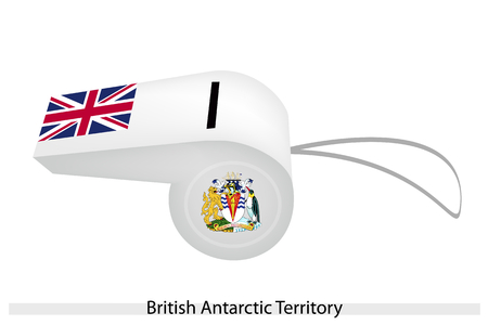 An Illustration of White Color with Union Flag and Coat of Arms of The British Antarctic Territory Flag on A Whistle, The Sport Concept and Political Symbol.