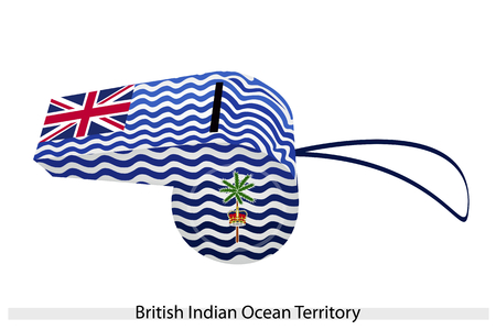 White and Blue Wave with Union Flag, Palm Tree and Crown of The British Indian Ocean Territory, BIOT or Chagos Islands Flag on A Whistle.  Vector