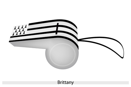 brittany: An Illustration of Black and White Stripe with an Ermine Canton of Brittany Flag on A Whistle, The Sport Concept and Political Symbol.  Illustration