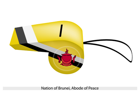 federation: The Crest of Brunei with Black and White Stripes on A Yellow Field of The Nation of Brunei, Abode of Peace Flag on A Whistle, The Sport Concept and Political Symbol.  Illustration