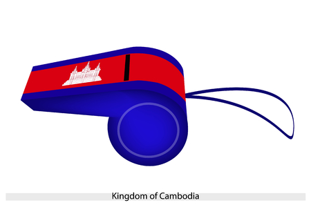 wat: Three Horizontal Bands of Blue, Red and Blue with A Depiction of Angkor Wat of The Kingdom of Cambodia Flag on A Whistle, The Sport Concept and Political Symbol.
