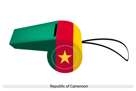 central cord: An Illustration of Green, Red and Yellow Bands with Yellow Stars of The Republic of Cameroon Flag on A Whistle, The Sport Concept and Political Symbol.