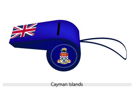 An Illustration of Union Jack with Coat of Arms on Blue Color of The Cayman Islands Whistle, The Sport Concept and Political Symbol.  Vector