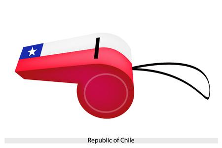 bandera de chile: Una ilustraci�n de rojo, blanco y vendas azules con una estrella Cinco-Acentuada Blanco de La Rep�blica de la bandera de Chile en un silbato, el concepto de deporte y s�mbolo pol�tico. Vectores
