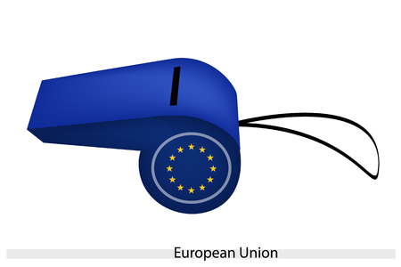 european economic community: An Illustration of A Ring of Twelve Yellow Stars on Blue Field of The European Union Whistle, The Political Symbol.  Illustration
