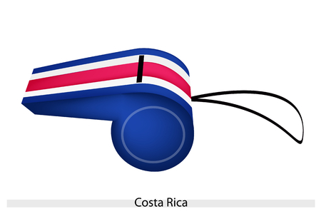 An Illustration of Blue, White and Red Bands with The Coat of Arms of The Republic of Costa Rica Flag on A Whistle, The Sport Concept and Political Symbol.