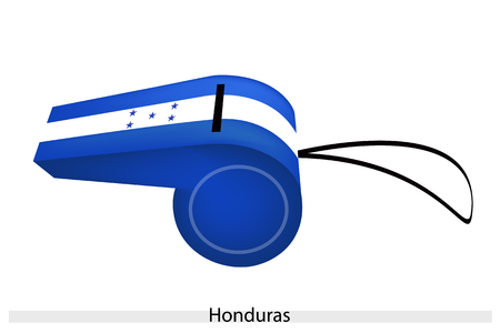 cerulean: An Illustration of The Five Cerulean Five-Pointed Stars on Blue and White Bands of The Republic of Honduras Flag on A Whistle, The Sport Concept and Political Symbol.