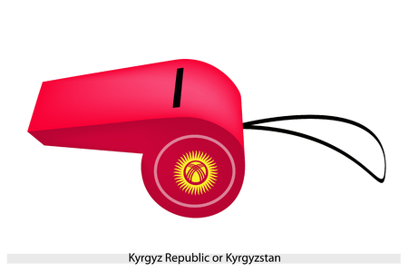 kyrgyz republic: An Illustration of A Yellow Sun on A Red Field of The Kyrgyz Republic or Kyrgyzstan Flag on A Whistle, The Sport Concept and Political Symbol.