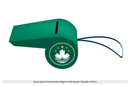 people's republic of china: An Illustration of A White Lotus and Five Gold Stars on Light Green Field of The Macao Special Administrative Region of the Peoples Republic of China Flag on A Whistle.