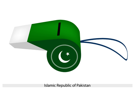 pakistan flag: A White Star and Crescent on A Dark Green Field and White Band of The Islamic Republic of Pakistan Flag on A Whistle, The Sport Concept and Political Symbol.  Illustration