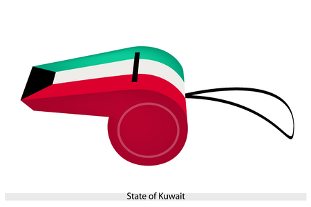 trapezium: An Illustration of A Black Trapezium with Green, White and Red Bands of The State of Kuwait Flag on A Whistle, The Sport Concept and Political Symbol.  Illustration