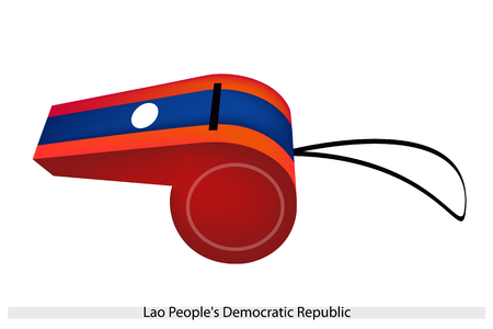 lao: An Illustration of A White Disc on Blue and Red Bands of The Lao Peoples Democratic Republic Flag on A Whistle, The Sport Concept and Political Symbol.