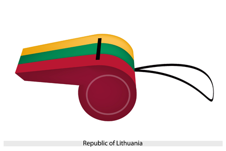 lithuania flag: An Illustration of A Horizontal Tricolor of Yellow, Green and Red Stripe of The Republic of Lithuania Flag on A Whistle, The Sport Concept and Political Symbol