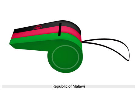 federation: A Red Rising Sun on A Horizontal Black, Red and Green of The Republic of Malawi Flag on A Whistle, The Sport Concept and Political Symbol