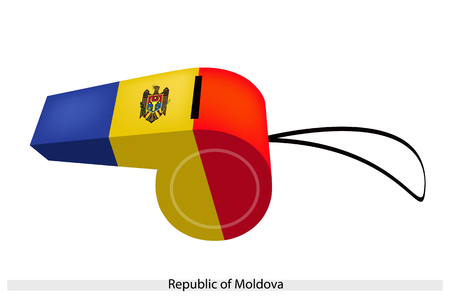 A Coat of Arms on A Vertical Blue, Yellow and Red Bands of The Republic of Moldova Flag on A Whistle, The Sport Concept and Political Symbol  Vector