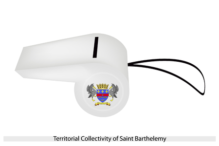 collectivity: An Illustration of The Coat of Arms on A White Field of The Territorial Collectivity of Saint Barthelemy Flag on A Whistle, The Sport Concept and Political Symbol.