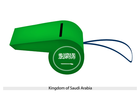 A Green Field with The Shahada Inscription and A Sword in White of The Kingdom of Saudi Arabia Flag on A Whistle, The Sport Concept and Political Symbol.   Vector