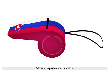 slovak: The Coat of Arms with Horizontal White, Blue and Red Band of The Slovak Republic or Slovakia Flag on A Whistle, The Sport Concept and Political Symbol.  Illustration