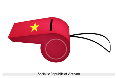 socialist: An Illustration of A Gold Star on Red Field of The Socialist Republic of Vietnam Flag on A Whistle, The Sport Concept and Political Symbol.