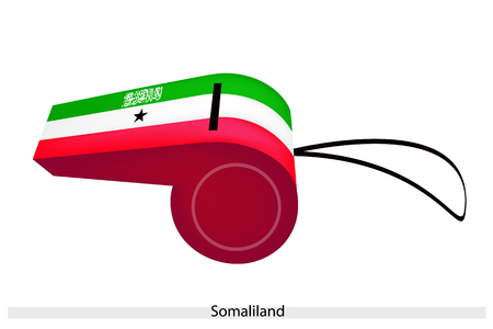 inscribed: The Shahada Inscribed and A Black Five-Pointed Star on A Horizontal Green, White and Red Bands of Somaliland Flag on A Whistle, The Sport Concept and Political Symbol.