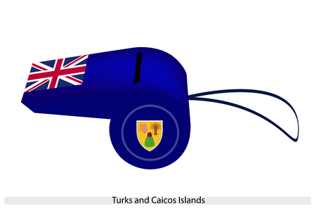 punish: An Illustration of The Coat of Arms and Union Jack on Blue Field of The Turks and Caicos Islands Flag on A Whistle, The Sport Concept and Political Symbol.