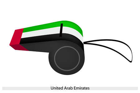 whistling: A Horizontal Red, White and Black with A Green Triangle at The United Arab Emirates Flag on A Whistle, The Sport Concept and Political Symbol.