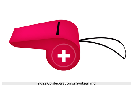 swiss flag: A White Two Bars Perpendicular to Each Other in A Red Field of The Swiss Confederation or Switzerland Flag on A Whistle, The Sport Concept and Political Symbol.  Illustration