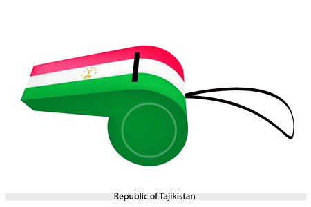 surmounted: A Horizontal Red, White and Green Band Charged with A Crown Surmounted by An Arc of Seven Stars of The Republic of Tajikistan Flag on A Whistle.