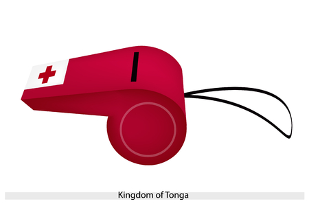 perpendicular: A Red Two Bars Perpendicular to Each Other in A White Band on A Red Field of The Kingdom of Tonga Flag on A Whistle, The Sport Concept and Political Symbol.  Illustration