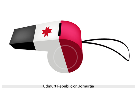 perpendicular: An Illustration of A Red Two Bars Perpendicular in Black, White and Red Bands with Coat of Arm of The Udmurt Republic or Udmurtia Flag on A Whistle.