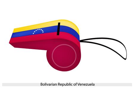 estrellas cinco puntas: Ocho estrellas de cinco puntas sobre un Horizontal Amarillo, Azul y Bandas Roja de la Rep�blica Bolivariana de Venezuela Flag un silbato, el concepto del deporte y s�mbolo pol�tico. Vectores