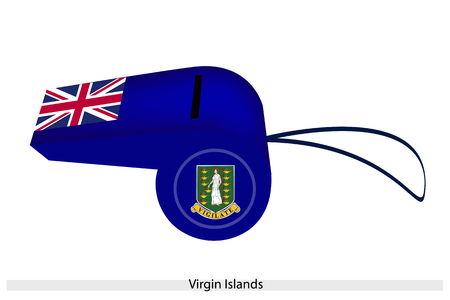 virgin islands: An Illustration of The Coat of Arm and Union Jack on A Blue Field of Virgin Islands Flag on A Whistle, The Sport Concept and Political Symbol.