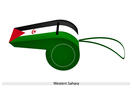 punish: A Red Star and Crescent in A Horizontal Black, White and Green with A Red Triangle at The Hoist of The Western Sahara Flag on A Whistle.