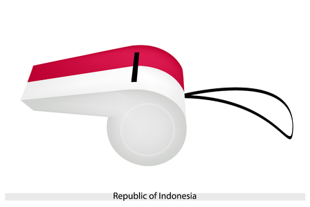 whiteblue: An Illustration of A Horizontal Bicolor of Red and WhiteBlue Stripe of The Republic of Indonesia Flag on A Whistle, The Sport Concept and Political Symbol.