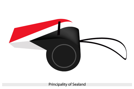 sealand: An Illustration of Red, White and Black Bands of The Principality of Sealand Flag on A Whistle, The Sport Concept and Political Symbol.