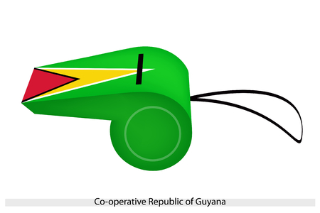cooperative: An Illustration of A Black-Edged Red Triangle Over A White-Edged Gold Triangle on A Green Field of The Cooperative Republic of Guyana Flag on A Whistle.  Illustration
