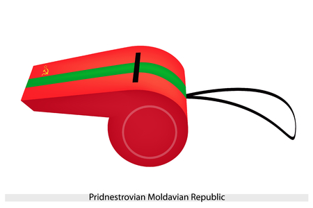 hammer and sickle: Three Horizontal Bands of Red, Green and Red with Golden Hammer, Sickle and Star of The Pridnestrovian Moldavian Republic or Transnistria Flag on A Whistle.