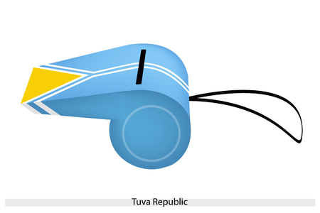 bordering: An Illustration of A Light Blue Field with A White-Fimbriated Pall Bordering A Yellow Triangle at The Hoist of The Tuva Republic Flag on A Whistle.