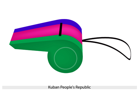 kuban: An Illustration of A Horizontal Tricolor of Blue, Purple and Green Bands of The Kuban Peoples Republic Flag on A Whistle, The Sport Concept and Political Symbol.