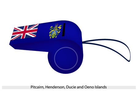 pitcairn: The Coat of Arms of with Union Jack on Blue Field of The Pitcairn, Henderson, Ducie and Oeno Islands Flag on A Whistle, The Sport Concept and Political Symbol  Illustration
