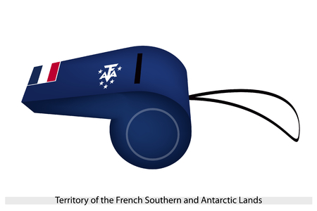 The French Tricolor with The Coat of Arms Consists of Five Stars and The Letters TAAF on Blue Field of The French Southern and Antarctic Lands Flag on A Whistle  Stock Vector - 25515181