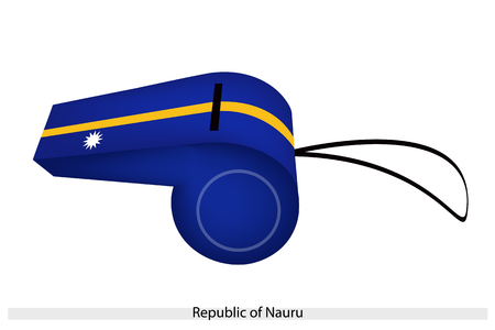 nauru: A White Star on Horizontal Bicolor Tribands of Blue, Yellow and Blue of The Republic of Nauru Flag on A Whistle, The Sport Concept and Political Symbol  Illustration