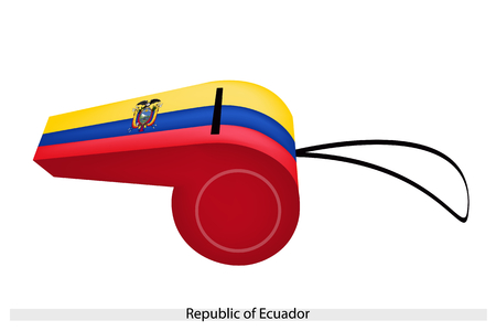 republic of ecuador: A Horizontal Triband of Yellow, Blue and Red with The Coat of Arms of The Republic of Ecuador Flag on A Whistle, The Sport Concept and Political Symbol.