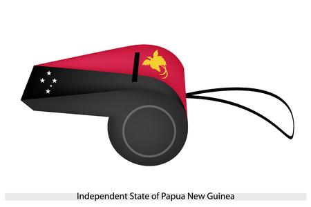 new guinea: Una diagonale Bicolor di nero e rosso con bande Southern Cross e un uccello del paradiso dello stato indipendente di Papua Nuova Guinea bandiera su una Whistle.