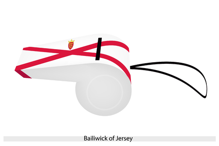 An Illustration of The Red Saltire on A White Field with A Yellow Plantagenet Crown and The Badge of The Bailiwick of Jersey Flag on A Whistle.   Vector