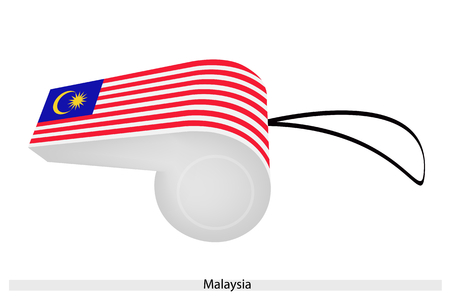 An Illustration of A Yellow Crescent and Star in The Field of Blue with White and Red Stripe of Malaysia Flag on A Whistle, The Sport Concept and Political Symbol.  Vector