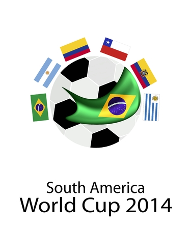 Brazil 2014, An Illustration of The Flags of South America Zone Countries Around A Soccer Ball of of Football  Qualification in Brazil.  Vector