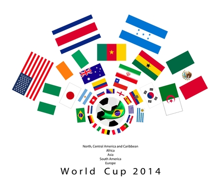 Brazil 2014, An Illustration of The Flags of 32 Teams Around A Soccer Ball of of Football  in Brazil.  Vector